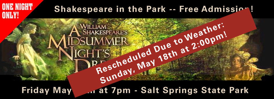 Shakespeare in the Park Rescheduled to May 18th at 2:00pm